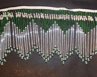 "Bead glass Green fringe glass straw  5"" long"