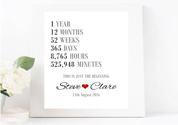 Personalised 1st Wedding Anniversary Gifts: First Wedding Anniversary Gift Personalised Wedding Print