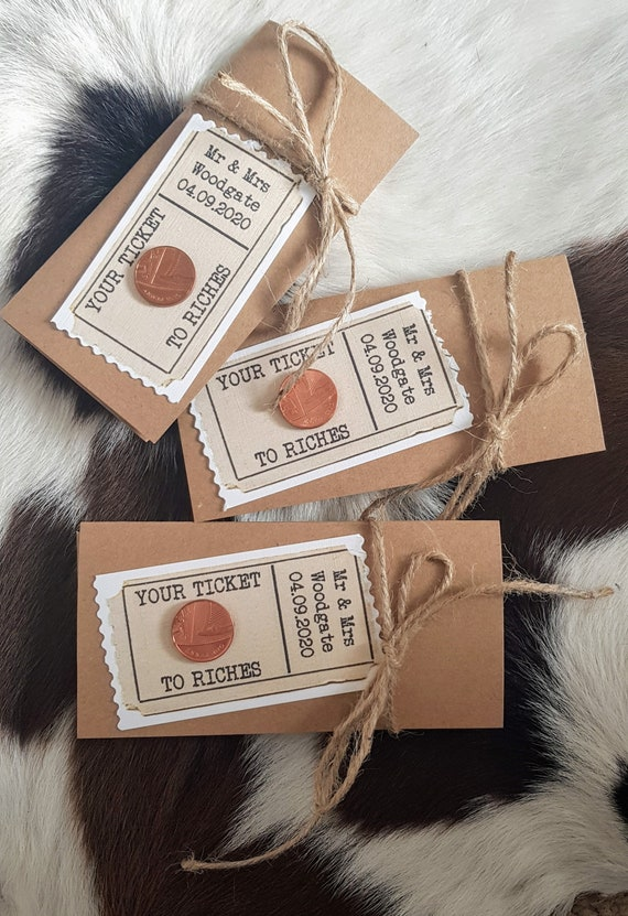 Personalised Scratchcard Lottery Ticket walletsholders Envelopes Ticket to Riches Rustic Vintage 10 Wedding favours