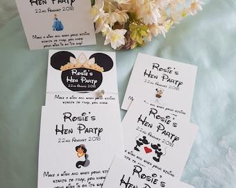 Hen Party, Hen Do, Hen weekend  Team Bride- Disney inspired - Wish Bracelet -  Friendship Bracelet - Personalised Card - 'Bride to Be' Charm