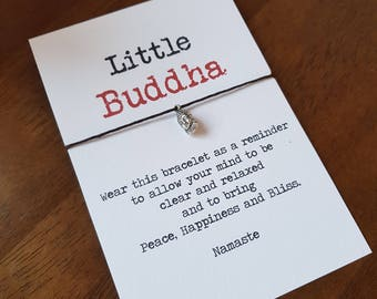 Wish Bracelet Friendship  Little Buddha, Yoga Meditation Buddha Prayer Buddha Bracelet, Buddha Card, relaxation