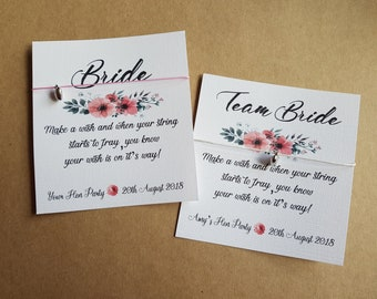 Floral Hen Party Wish Bracelet -  Friendship Bracelet - Personalised Card -  Special 'Bride to Be' charm - Hen do- team bride
