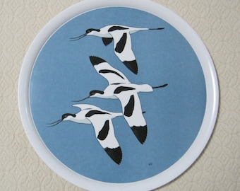 "Serving Tray, 12"" Diameter, Praesidium Ornamin, Great Britain, Avocets, Robert Gillmor, Vintage"