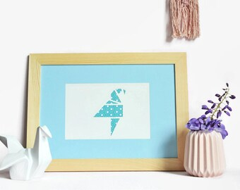 Poster origami-A4-graph-paper cut hand-bird-fabric blue - Design - Paper cut