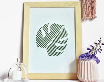 Displays graph-A4-paper cut hand-leaf-Monstera-green and white-nature-Paper cut-gift