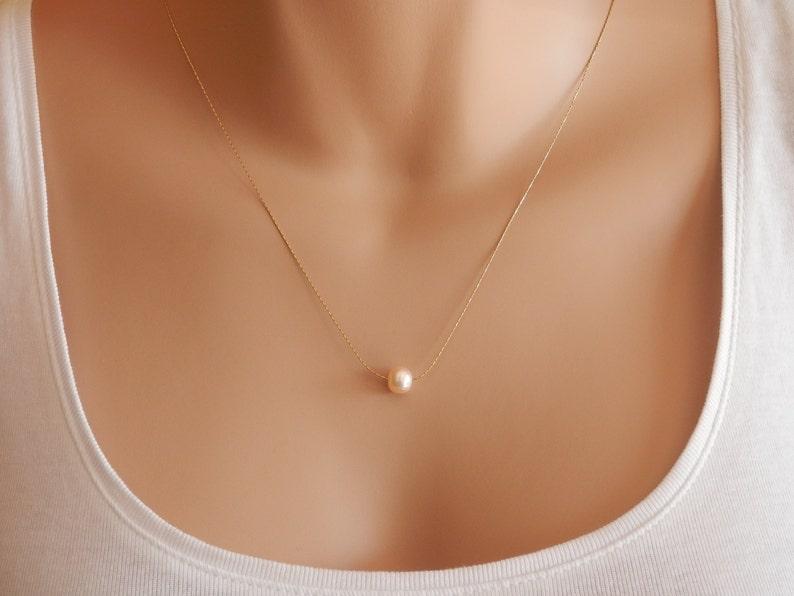 Peach pearl necklace Peach pearl choker Peach Floating Pearl Choker baroque pearl dainty choker gold plated chain silver plated peach pearl