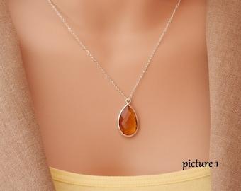 november birthstone citrine necklace citrine pendant necklace silver citrine necklace silver