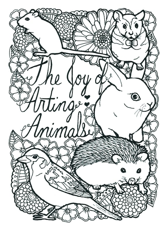 22 Pages of Animals Coloring Book - Adult colouring, Coloring Book,  Printable Adult Coloring, Hand Drawn, colour Therapy, Instant Download