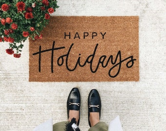 happy holiday doormat | christmas doormat | hello welcome mat | hand painted, custom doormat | cute doormat | outdoor doormat | Black Friday