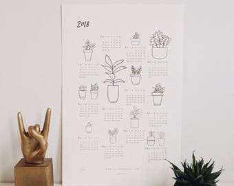 2018 minimalist plant calendar | letterpress calendar | indoor plant print | letterpress art print