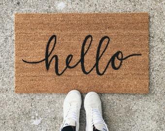 hello welcome mat | hand painted, custom doormat | cute doormat | outdoor doormat | wedding gift | housewarming gift | Black Friday