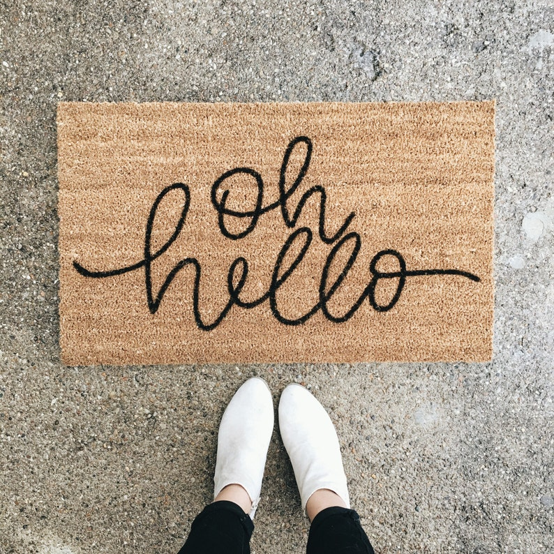 oh hello welcome mat  hand painted custom doormat  cute image 0