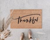 thankful doormat | fall decor | hello welcome mat | hand painted, custom doormat | cute doormat | outdoor doormat | fall doormat