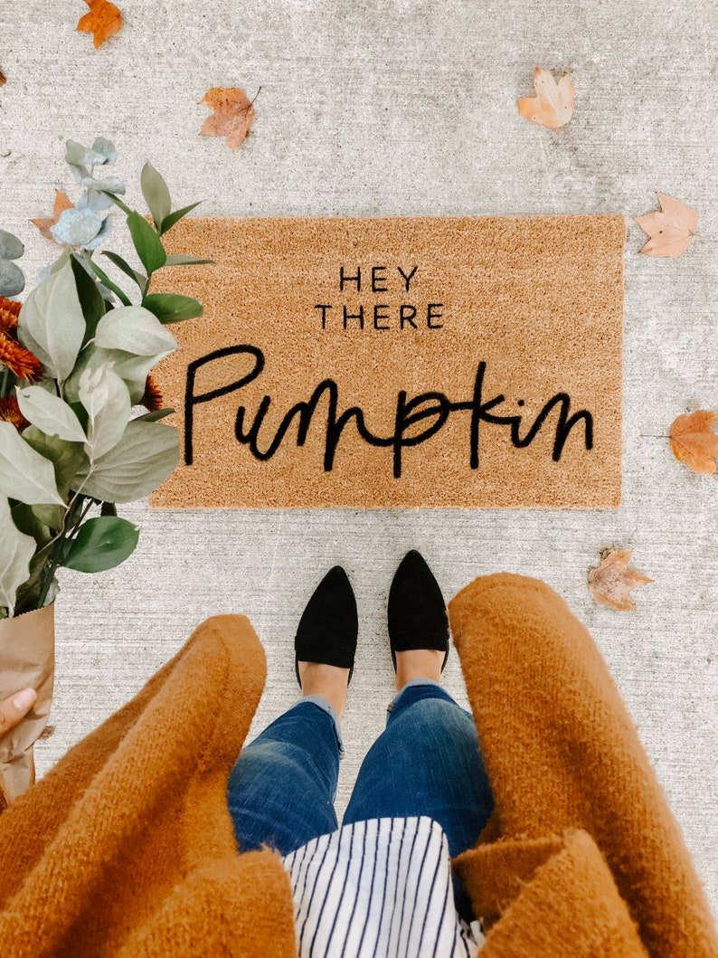 THE ORIGINAL hey there pumpkin  fall decor  welcome mat  image 0