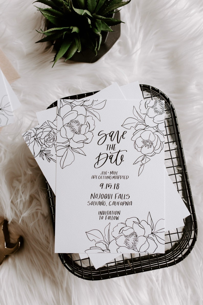 minimal and botanical hand lettered save the date The Jade