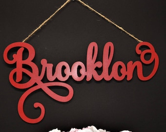 Personalized Wood Name Sign/ Custom Name Sign / Custom Wood Hanging Last Name Sign / Laser Cut Name / Wood Cut Out Name /Name sign with rope