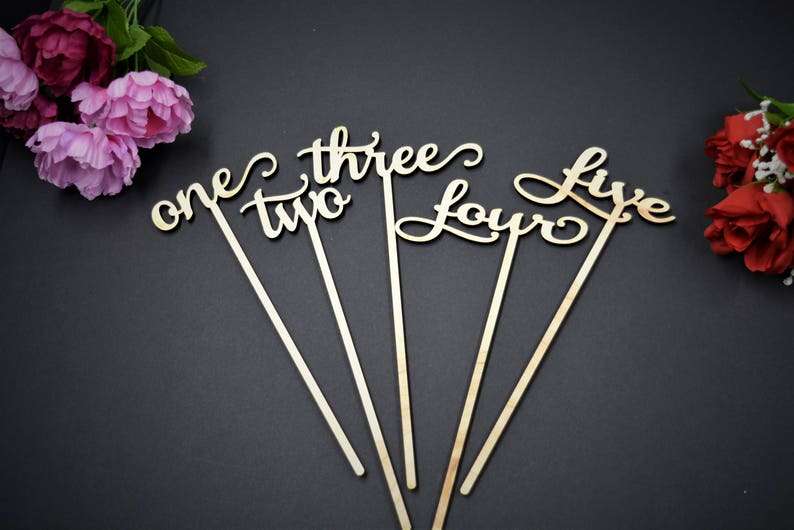 Wedding Table Numbers with Attached Stakes. Wood Wedding Table image 0