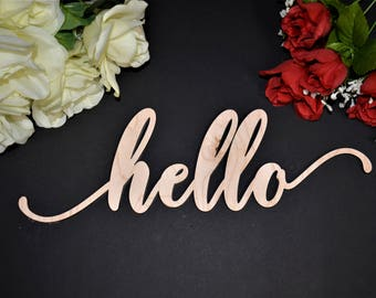 HELLO wood sign. Calligraphy HELLO Wall Sign. Laser Cut HELLO wood cut out sign. Rustic Wood Hello Sign. Wood Hello word Sign. Hello Letters