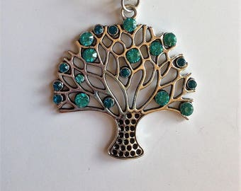 Blue tree with Rhinestone keychain