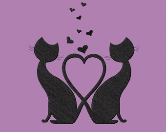 Embroidery design-Embroidery design-Cats in love-Cats in love