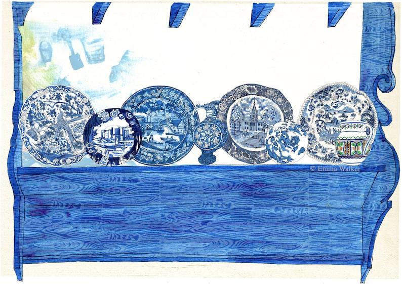 Blue Cottage A2 Giclée print image 0