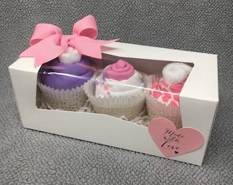 Baby Girl Onesie Cupcakes, Baby Shower Gift, Unique Baby Gift, Baby Girl Gift, New Baby Gift