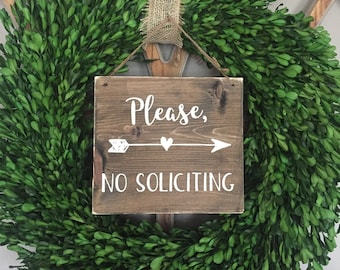 No Soliciting Sign with Arrow, Front Door Please No Soliciting Sign, No Soliciting Please Wood Sign, Front Door Sign, Please No Soliciting