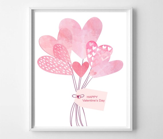 Background With Happy Valentines Art//Canvas Print Wall Art Poster Home Decor