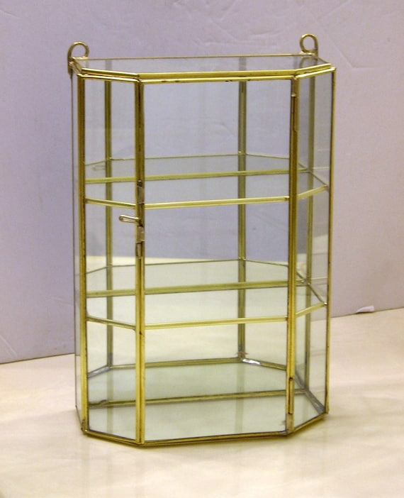 Brass Tabletop 3 Shelf Curio Cabinet, Tall Curio Cabinet