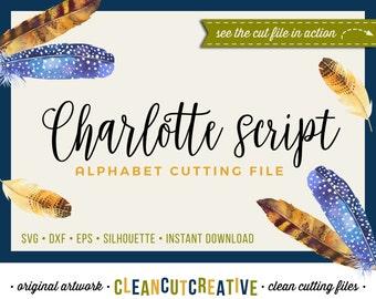 Full Alphabet SVG Fonts Cutfile - Modern Handwriting Calligraphy Script cricut font - DXF EPS Silhouette Cameo Cricut - clean cutting files