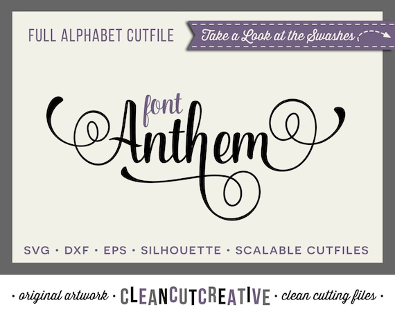 Full Alphabet SVG Fonts Cutfile Fancy Script Cricut Font
