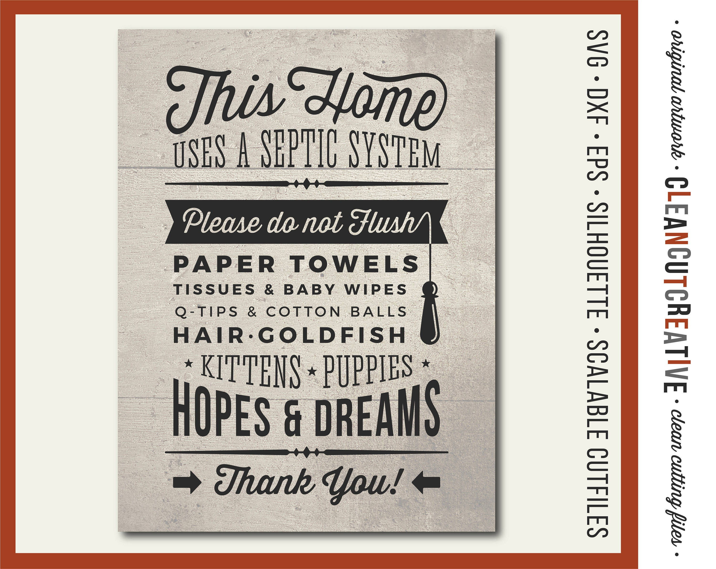 7d3daf065876a SVG Bathroom Sign Septic System - Do Not Flush Hopes & Dreams svg toilet  rustic wood sign svg file design Cricut and Silhouette cutting file