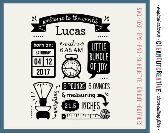svg birth stats template svg birth announcement svg baby stats etsy