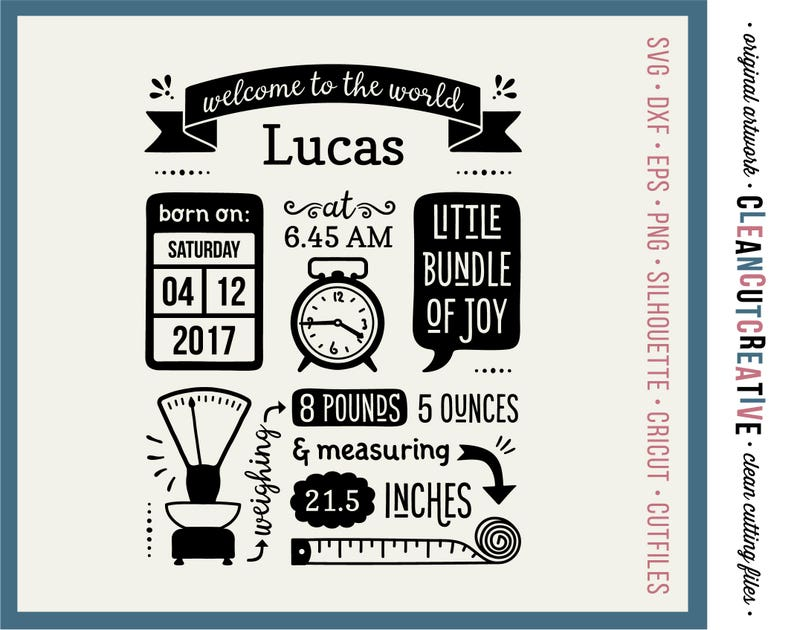 SVG Birth Stats Template svg Birth Announcement svg Baby Stats image 0