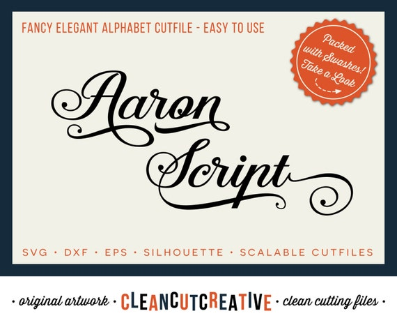 Aaron Script Full Alphabet SVG Fonts Cutfile Fancy Elegant