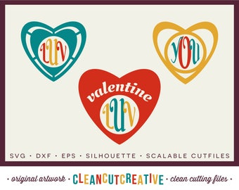 SVG Heart Monogram Frame svg Valentines Day svg DXF EPS -  for Cricut and Silhouette Cameo - clean cutting digital files - commercial use