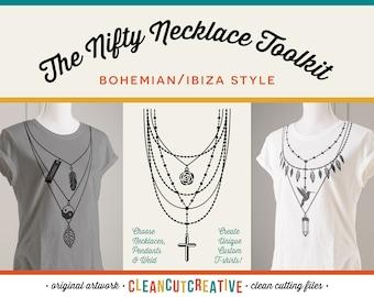 SVG Necklace svg Toolkit svg jewelry svg pendant svg name svg Boho Ibiza shirt design svg cross feather girl DXF EPS Cricut & Silhouette