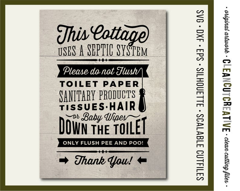 9d984237d100b Cottage SVG Bathroom Sign Septic System - Do Not Flush svg toilet pee poo  rustic sign svg file design - Cricut & Silhouette - commercial use
