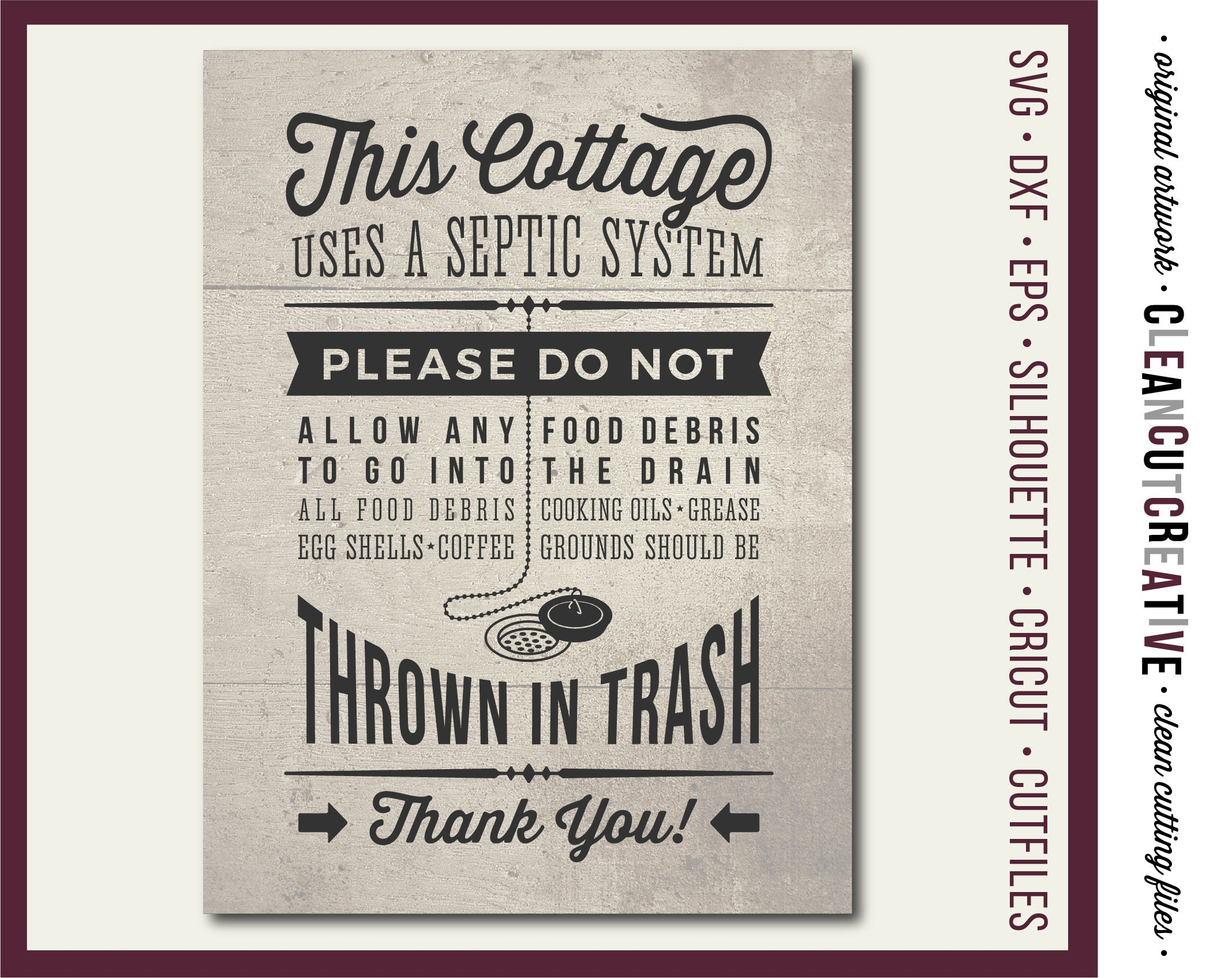 fc7aa647742f2 SVG Cottage Kitchen Sign Septic System svg kitchen rules septic  retro/vintage wood sign svg file design Cricut & Silhouette cutting file