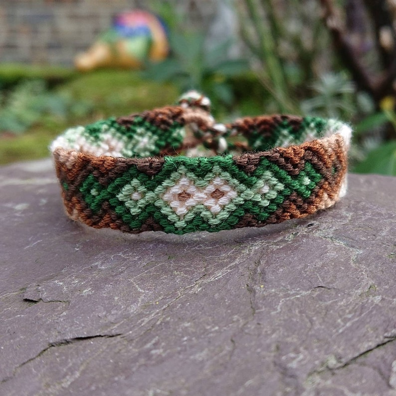 a9efa6312ca2 Green to Brown Earth Tone 'Zip' Style Friendship Bracelet, 6-9 inch  Adjustable Cotton Woven Friendship Bracelet, Tribal Macrame Bracelet