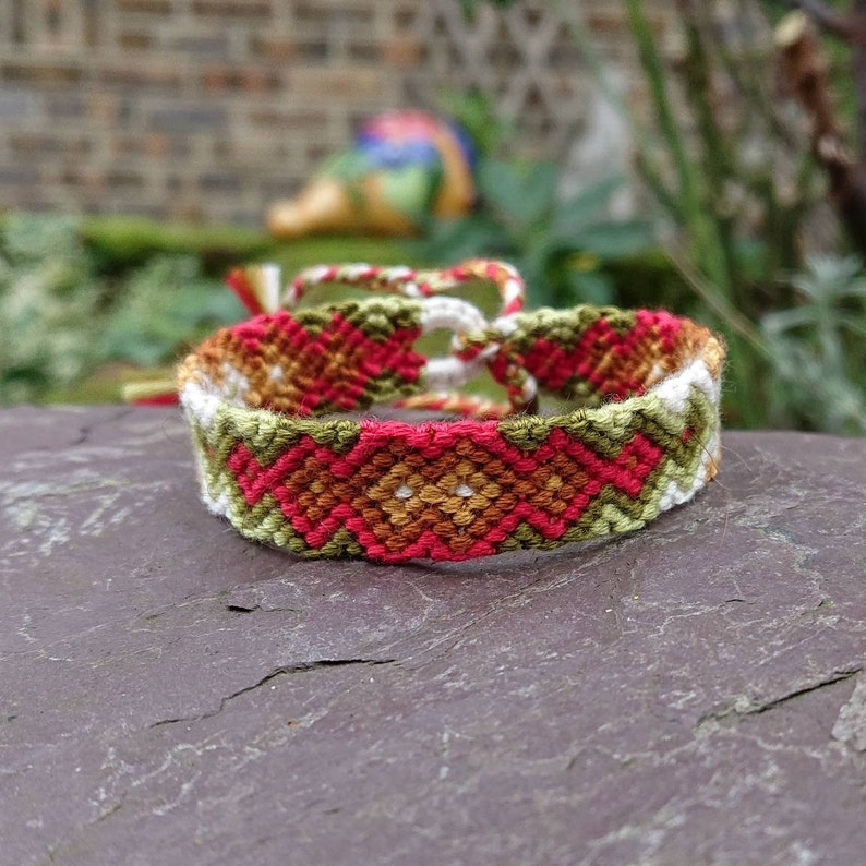 d3752d59e519 Red, Brown & Green Earth Tone 'Zip' Style Friendship Bracelet, 6-9 inch  Adjustable Cotton Woven Friendship Bracelet, Tribal Macrame Bracelet