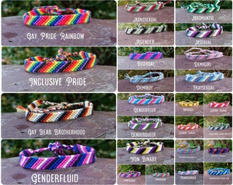 LGBTQIA+ Pride Thin Cotton Friendship Bracelet/Anklet Tie-on Adjustable Woven Braided String Gay Lesbian Trans Asexual Non Binary Flux Demi