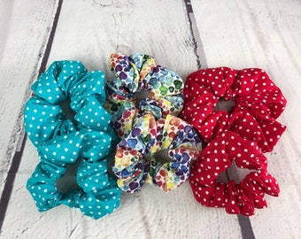 """Sew your own set of 3 scrunchies for you and your 18"""" doll - Sewing kit for children - Make 6 scrunchies!"""