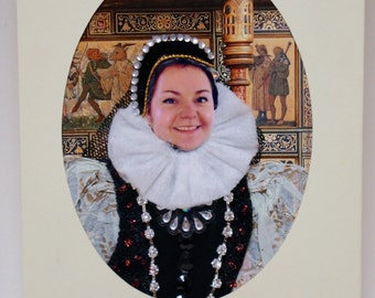 Birthday portrait as a Greeting card - personalised, unusual, fun, unique, 3D, birthday gift. TUDOR LADY style. A6.