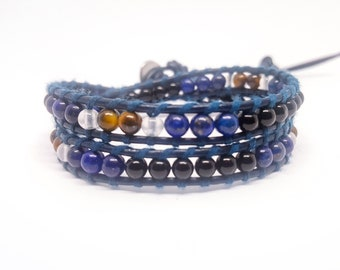 Men's leather and natural stones bracelet