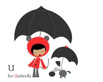 U for umbrella