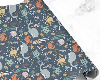 Whale wrapping paper, sealife gift wrap, birthday wrapping paper, gift wrap, birthday gift wrap