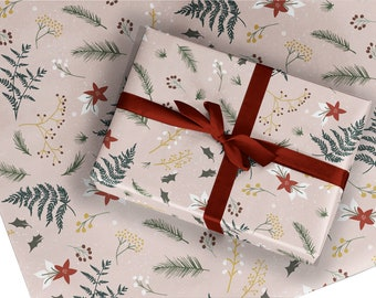 Christmas Wrapping Paper / Gift Wrap - Berry and Bright - Blush