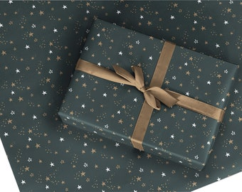 Christmas Wrapping Paper / Gift Wrap - Starry Night - Pine