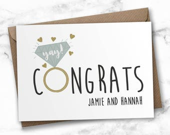 Personalised engagement card, congratulations card, wedding card